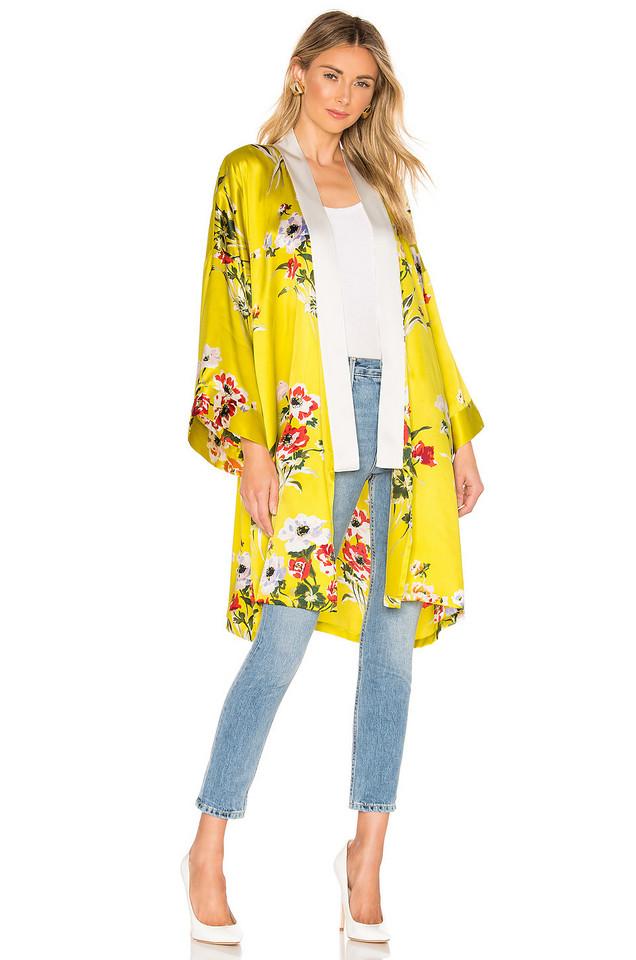 Olivia von Halle Silk Kimono in yellow