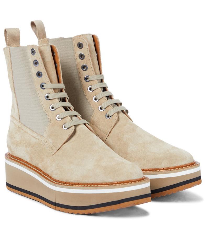 Clergerie Brendy suede platform combat boots in beige