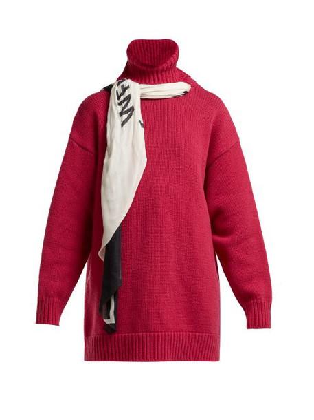 Balenciaga - Scarf Roll Neck Wool Sweater - Womens - Pink Multi