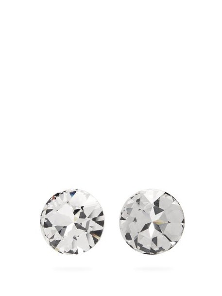 Saint Laurent - Oversized Crystal Clip Earrings - Womens - Crystal