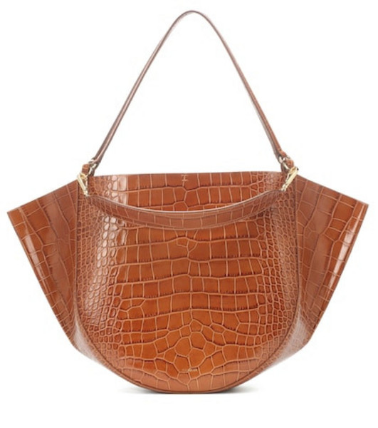 Wandler Mia embossed leather tote in brown