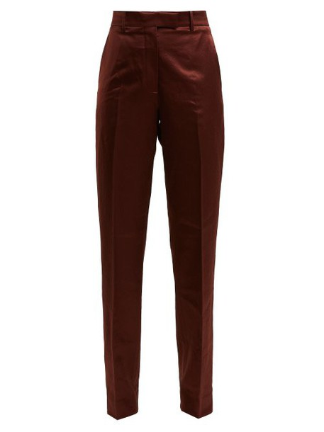 Calvin Klein 205w39nyc - Side Stripe Straight Leg Satin Trousers - Womens - Brown Multi