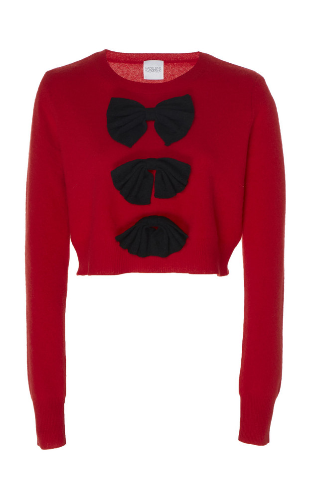 Madeleine Thompson Vulcan Bow-Embellished Cashmere Sweater Size: S in red