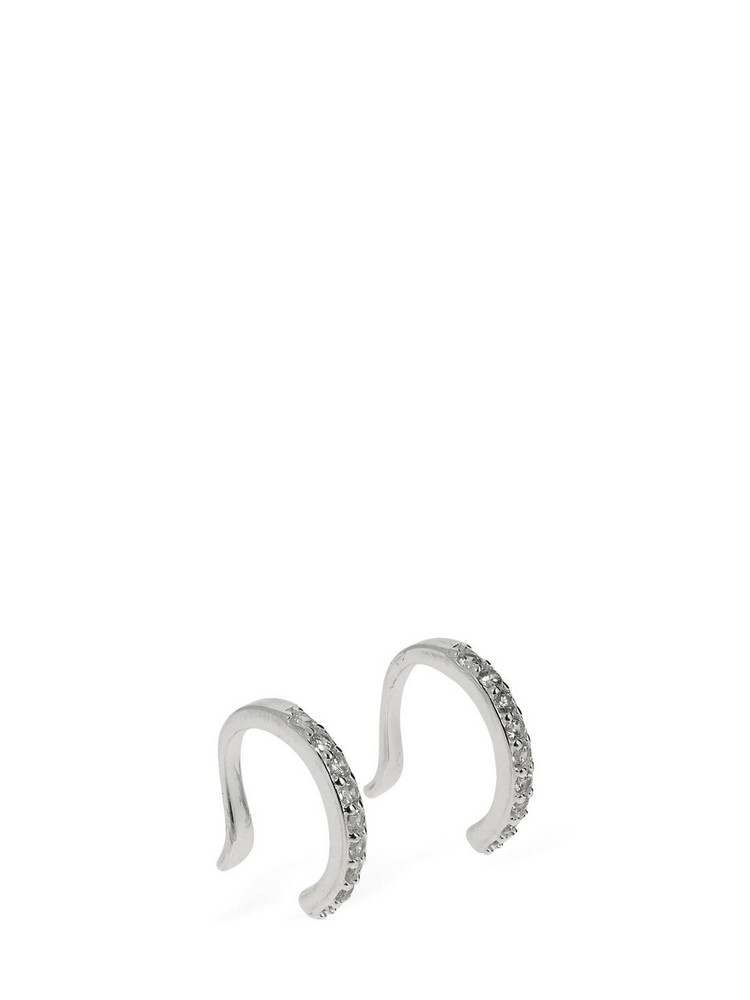 FEDERICA TOSI Ear Cuffs W/ Crystals in silver