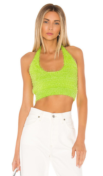 superdown Kimber Knit Halter Top in Green