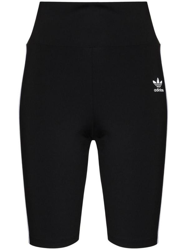 adidas 3-stripe biker shorts in black