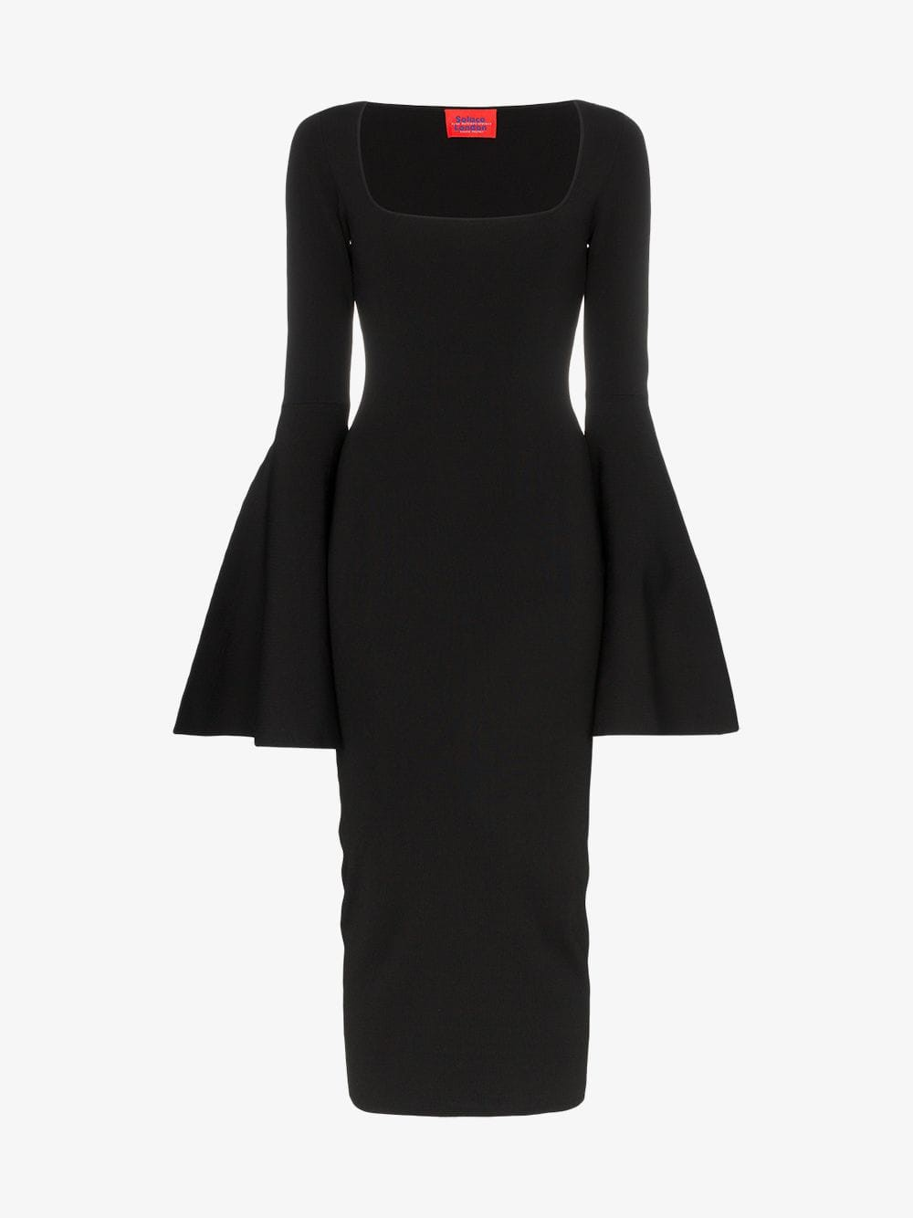 Solace London Serra square neck bell sleeve dress in black