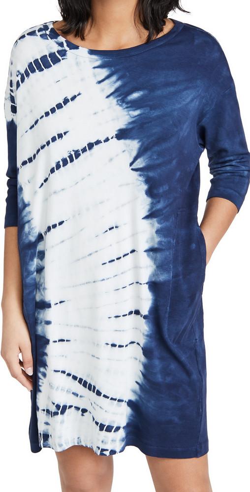 Raquel Allegra Tie Dye Cocoon Dress in indigo / white