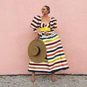 skirt,striped skirt,carolina herrera,sandal heels,top,puffed sleeves,hat