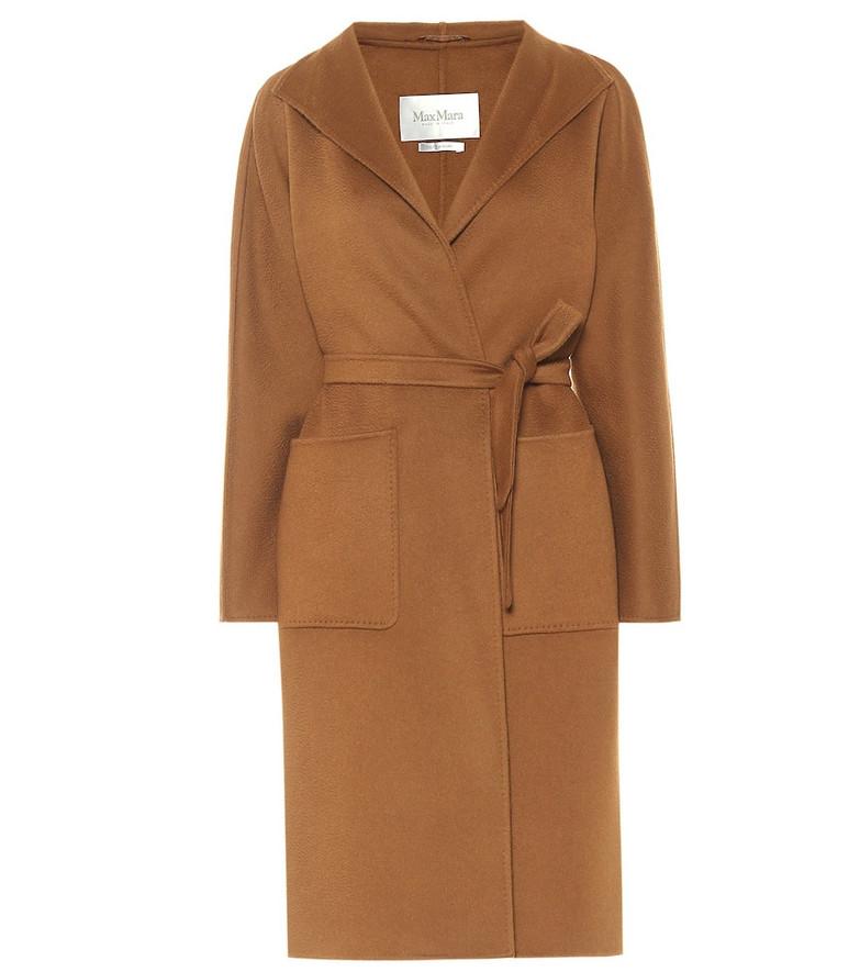Max Mara Lilia wrap cashmere coat in brown