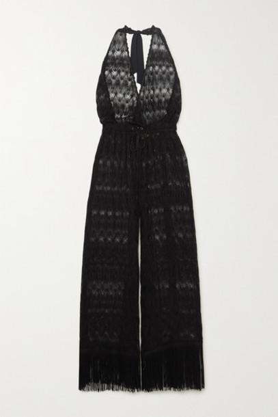 Missoni - Mare Cropped Fringed Metallic Crochet-knit Halterneck Jumpsuit - Black