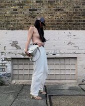 pants,high waisted pants,sandal heels,tank top,cap,bag