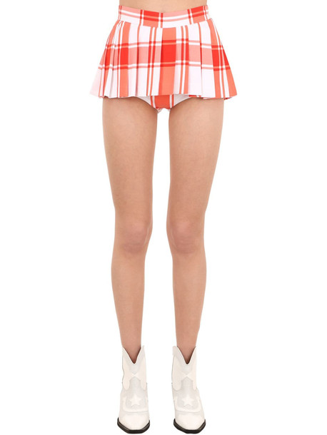 PUSHBUTTON Pleated Cotton Twill Shorts in red / white