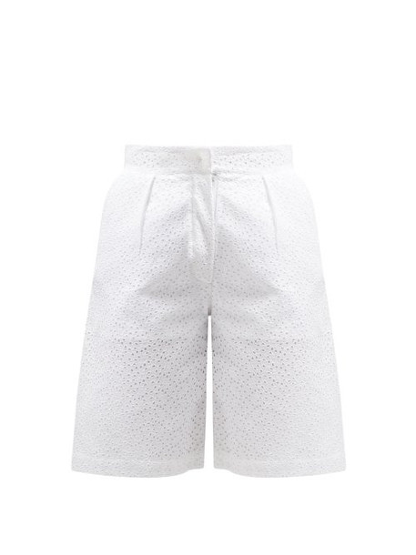 Giuliva Heritage Collection - The Stella Broderie Anglaise Linen Shorts - Womens - White
