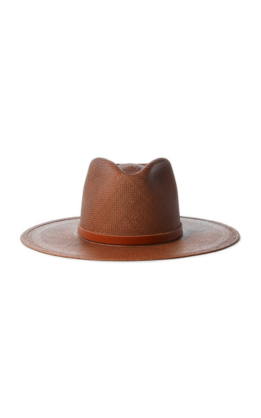 Janessa Leone Bianca Straw Fedora in brown