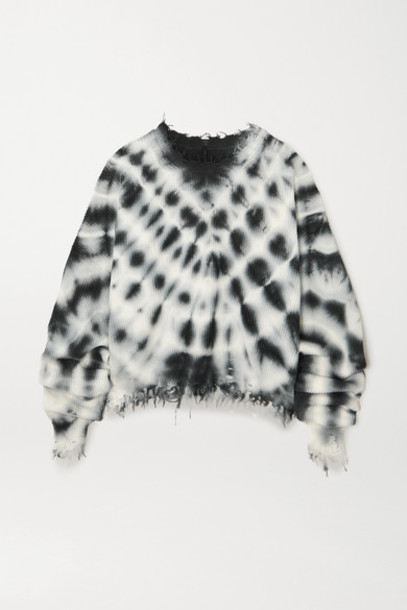Unravel Project - Distressed Ribbed Tie-dyed Cotton And Cashmere-blend Sweater - Black