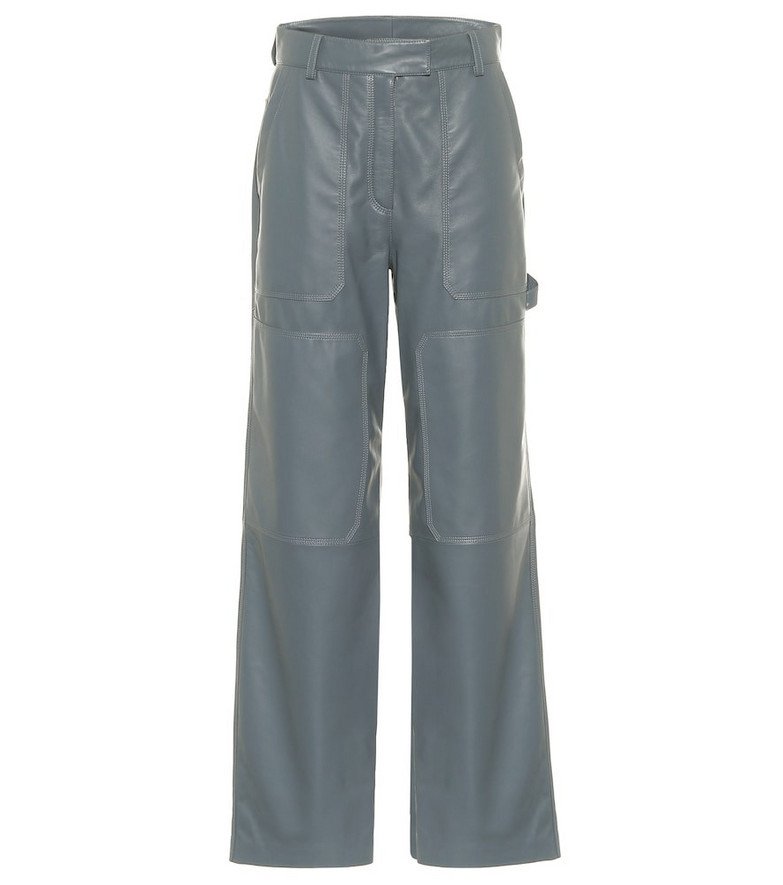 Common Leisure Leather cargo pants in blue