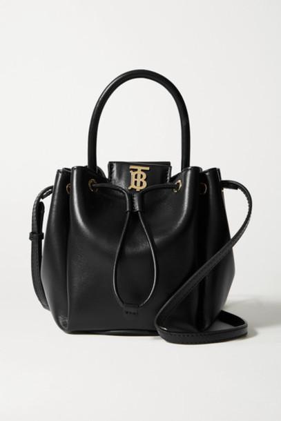 Burberry - Leather Bucket Bag - Black