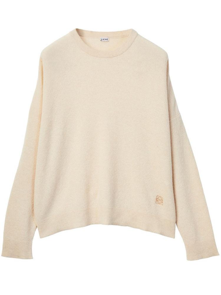 LOEWE Cashmere Piqué Crewneck Sweater in beige