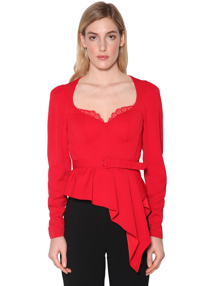 SELF-PORTRAIT Belted Crepe Peplum Top in red