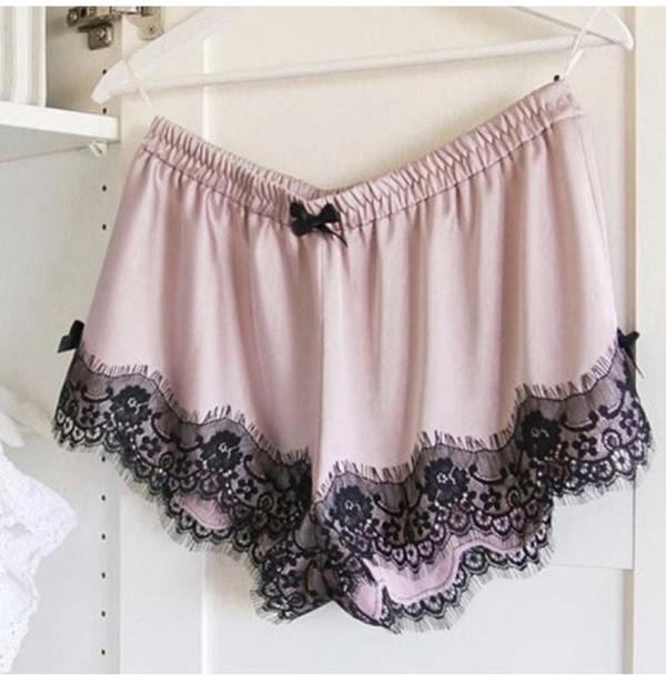 pajamas underwear lingerie short shorts short satin satin shorts pink pink satin shorts pink shorts pajama shorts pajama pants panties lace lace shorts white lace shorts boho plus size fashion love summer trendy style