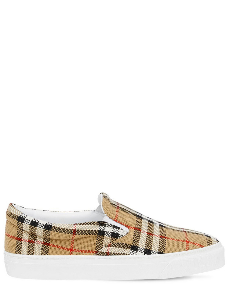 BURBERRY 20mm Thompson Check Slip On Sneakers in beige