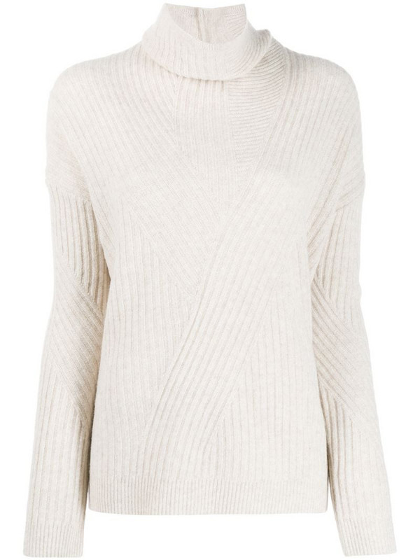 Pringle of Scotland ribbed knit turtleneck sweater in neutrals