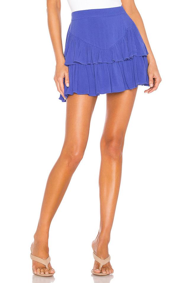 superdown Becky Ruffle Tier Skirt in blue