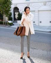 bag,leather bag,brown bag,fendi,pumps,plaid,pants,white turtleneck top,white coat
