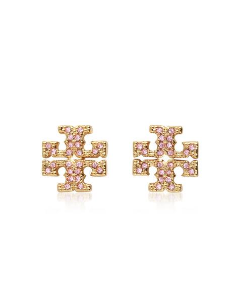 Tory Burch Crystal Logo Cross-stud Earrings in gold