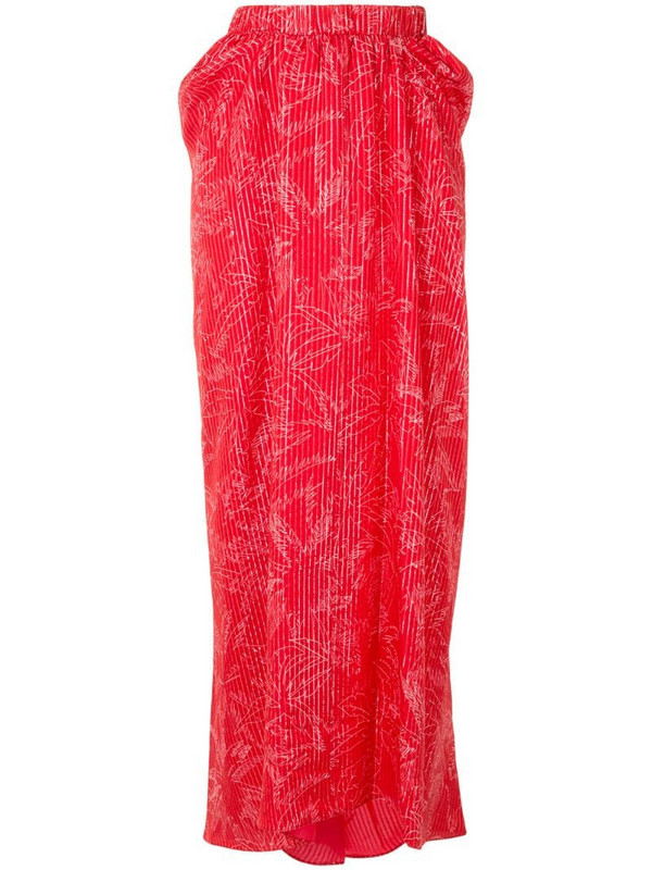 Giorgio Armani mulberry silk palm tree pattern skirt in red
