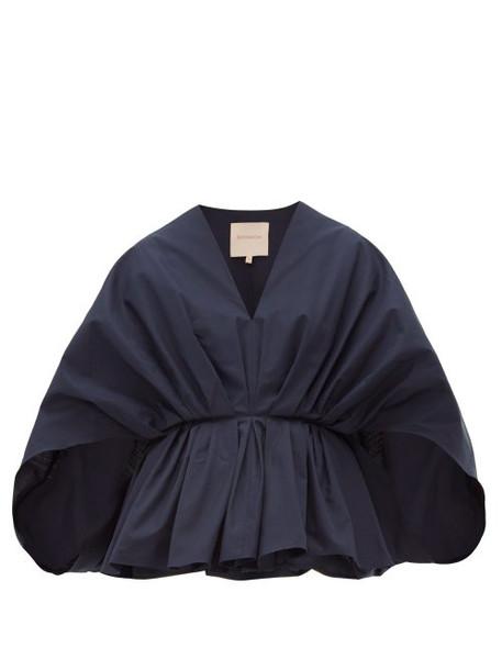 Roksanda - Aniya Pleated Cotton Top - Womens - Navy