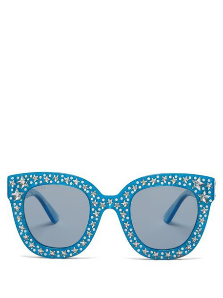 Gucci - Crystal Embellished Oversized Acetate Sunglasses - Womens - Light Blue