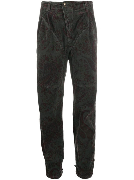 Etro paisley-print high-waisted trousers in grey