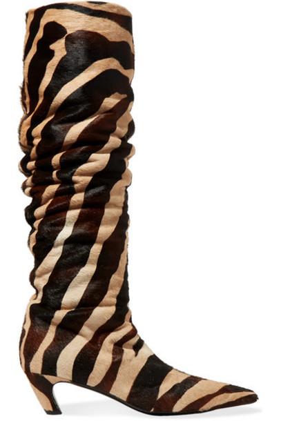 Khaite - Zebra-print Calf Hair Knee Boots - Zebra print