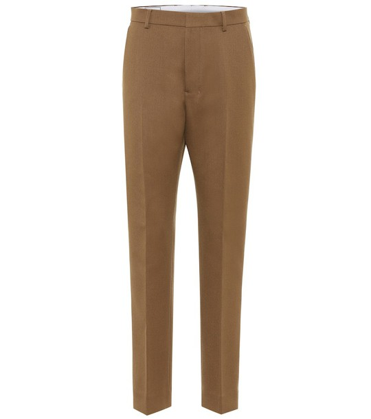 AMI High-rise straight wool pants in brown