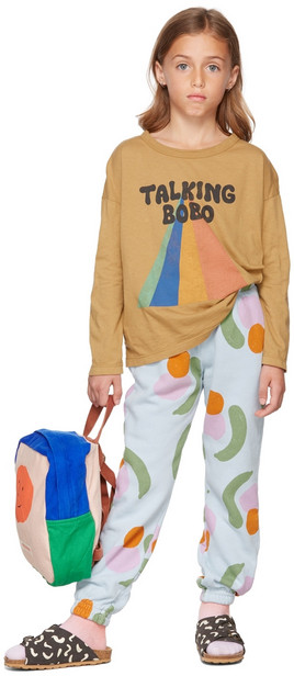 Bobo Choses Kids Tan Talking Bobo Rainbow Long Sleeve T-Shirt in camel
