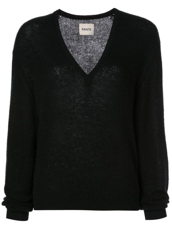 Khaite cashmere V-neck jumper in black