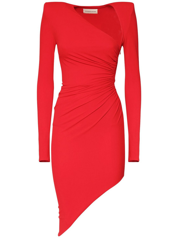 ALEXANDRE VAUTHIER Asymmetric L/s Stretch Jersey Dress in red