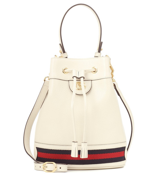 Gucci Ophidia Small leather bucket bag in white