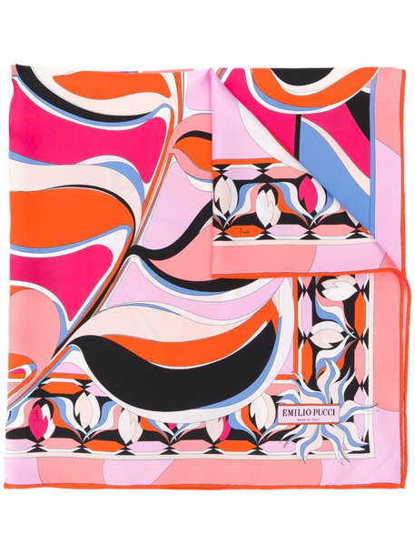Emilio Pucci psychedelic-style patterned scarf in orange