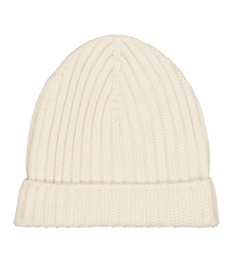 Barrie Ribbed-knit cashmere beanie in beige