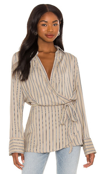 Free People Arlo Wrap Top in White in natural