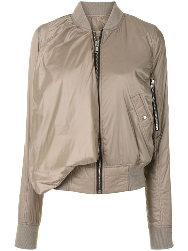 Rick Owens draped rib-trimmed bomber jacket in brown