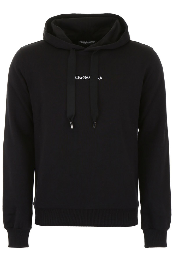 Dolce & Gabbana Hoodie With Embroidered Logo in nero