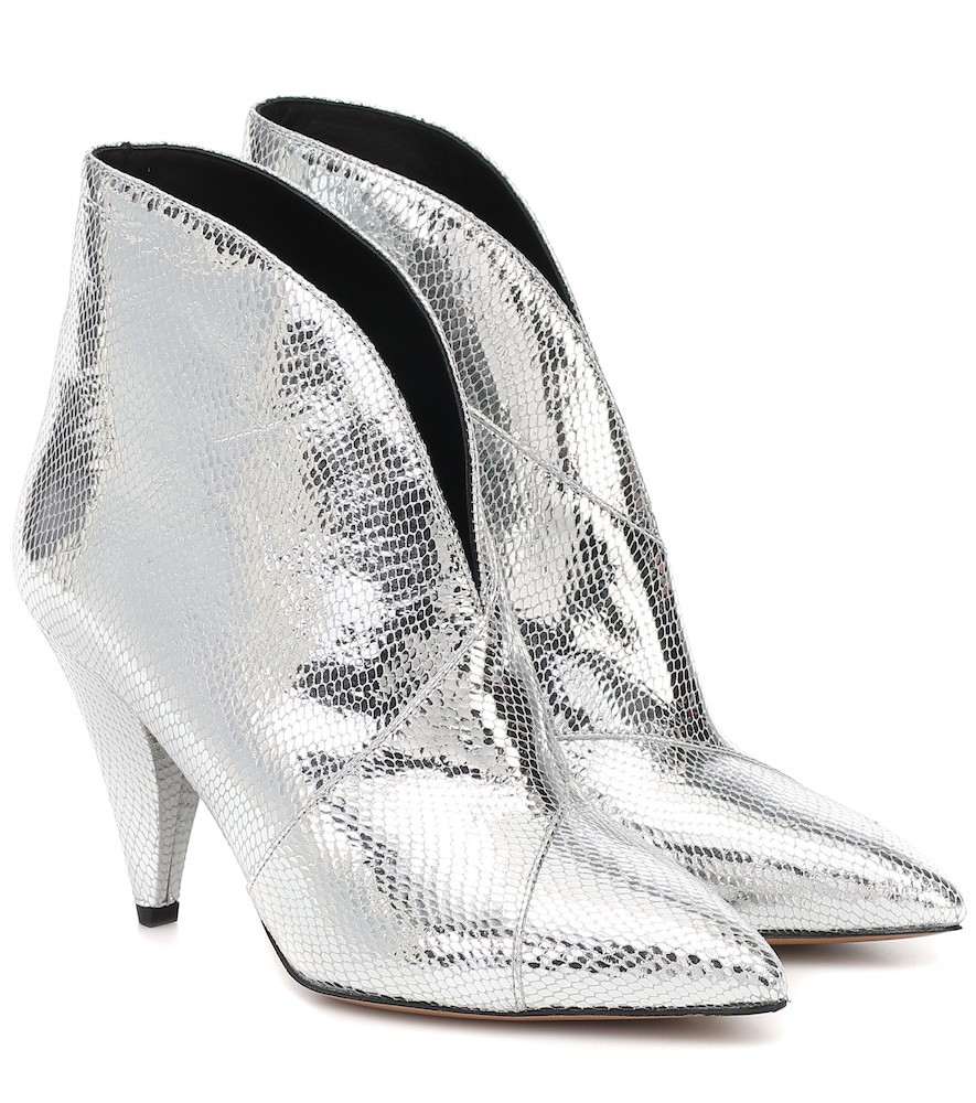 Isabel Marant Archenn leather ankle boots in silver
