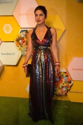 dress,colorful,maxi dress,gown,prom dress,sequins,sequin dress,priyanka chopra,celebrity