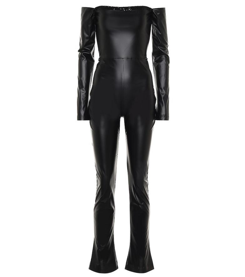 Halpern Off-shoulder faux leather jumpsuit in black