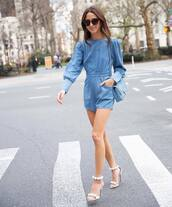 romper,denim romper,long sleeves,sandal heels,blue bag