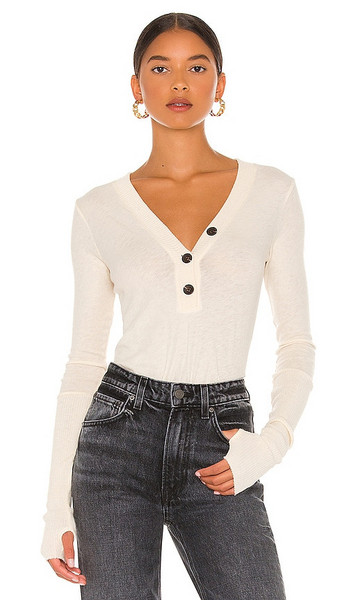 Enza Costa Cashmere Long Sleeve Cuffed Henley in Neutral in natural